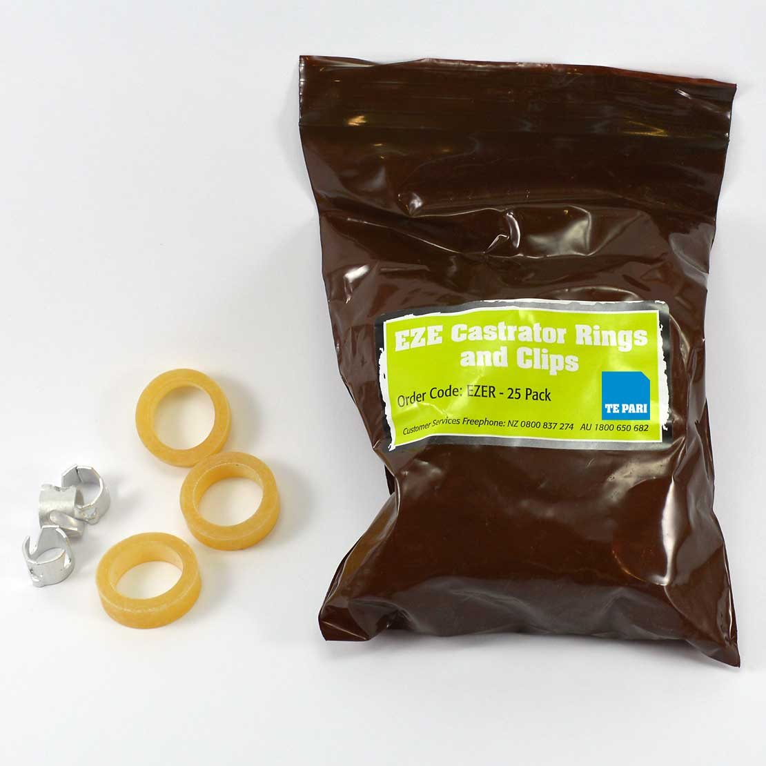 EZE Castrator Rings and clips - 25 pack